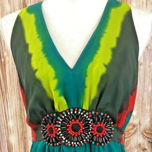 Multi Colored Beaded Racer Back Maxi Dress Size 10